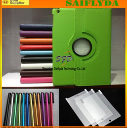 Wholesale 100 sets leather smart cover case Screen Protector Stylus for Apple iPad iPad Air quot