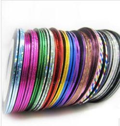 Wholesale Fashion Rolls Striping Tape Line Nail Art Decoration Sticker Multi Colors Nail Art Nail Patterns Highlight Nail Sticker m roll