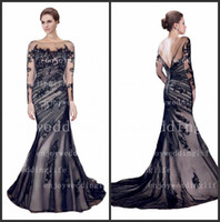 Wholesale 2014 Sexy Sheer Long Sleeves Tulle Mermaid Evening Gowns Ruffles Applique Floor Length Mother of The Bride Dress