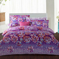 Adult Floral printed Polyster Fiber Reactive Dyeing Cotton Purple Floral Pattern Four-piece Bedding Set Printing Cover Quilt and Pillowcases DPP_11178