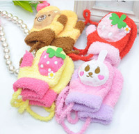 Mittens fleece gloves - Adorable Cartoon Fleece Gloves Korean Children Thicken Warm Mittens Lovely Kids Velvet Glove Cute Mitten D0860