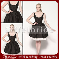 Wholesale 2016 Simple Design Party Dress Sexy Pretty Scoop Sleeveless Ruffle Ball Gown Short Black Taffeta Bridesmaid Dresses
