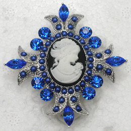 Wholesale Marquise Crystal Rhinestone Faux Pearl Flower Portrait Cameo Pin Brooch jewelry gift C704