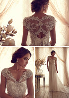 Wholesale Most beautiful sheer chiffon glitter beaded sequins sweep train V neck wedding dresses castle appliques bow pretty wedding gowns bridal gown
