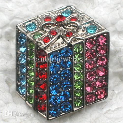 C708 F Multicolour Crystal Rhinestone Christmas Gift small Box Brooches Fashion Costume Pin Brooch jewelry gift