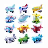 plane model - Mini Funny multi color Wooden Plane Model Toys With Small Wheels Helicopter Bus Best Gifts For Kids Styles set CM