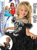 Cheap Adorable Black Ball Gown Girl's Pageant Dresses Spaghetti Strap Ruchen Crystals Hollow Mini Dress For Little Girl