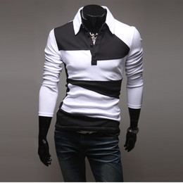Men T-shirts Sport POLO T-Shirts Fashion Men Stripe Black And White Colors Patchwork Turn-down collar T-Shirts Pullover M45