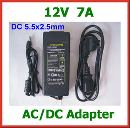 10pcs 12V 7A 84W DC 5.5x2.5mm AC DC Adapter Power Supply with AC Cable Charger AC 100V-240V Power Adapter Wholesale High Quality