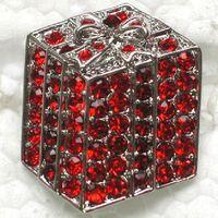 al por mayor cajas de regalo broche de joyería-Cristal Rojo al por mayor C708 C del Rhinestone del regalo de Navidad regalo de la joyería pequeña caja broches traje de la manera de la broche