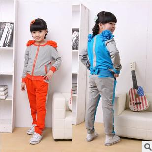 Set 2013 Autumn Round Neck Solid Flowers Jacket And Soft Pants Set