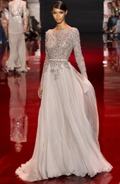 Wholesale 2014 Distinctive Appliqued And Beaded Decorated Elie Saab Prom Dresses Bateau Sheer Long Sleeve A Line Floor Length Chiffon Evening Gowns