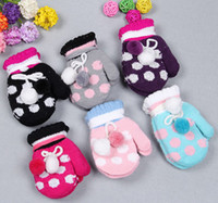 Wholesale 2013 Winter Fashion Polka Dots Fleece Dual Ball Mittens All Match Girls Outwear Thicken Dot Double Balls Velvet Gloves Kids Mitten D0863