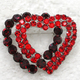 Wholesale CRYSTAL RHINESTONE VALENTINE'S DAY GIFT DOUBLE LOVE HEART PIN BROOCH C694
