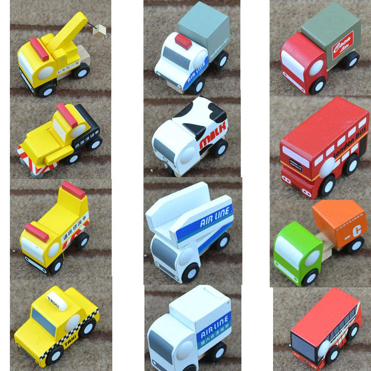 mini funny multi color wooden truck model toys with small wheels bus best gifts for kids 12 styles truck model toys car toys online with 3054piece on