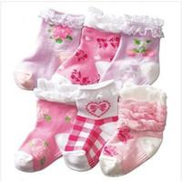 Boy non slip socks - New Arrival Lovely Popular Lace Cotton Children Non slip socks Cute Bowknot Baby Girls Socks