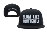 Float Like A Butterfly Snapback in black sting like a bee fi...