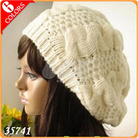 Wholesale Hot Sale Handmade Women s Warm Winter Beret Braided Baggy Beanies Crochet Hat Ski Cap Colors W35741
