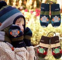 Wholesale Baby Cartoon Mitten Children Accessories Cute Robot Pattern Gloves Kids Fleece Thicken Warm Glove Child Velvet Mittens D0865