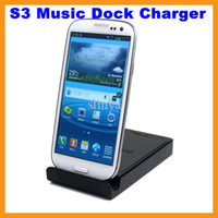 Wholesale Dual Sync Dock Cradle Battery Charger Stand Holder Case For Samsung Galaxy S3 I9300 with Audio Output Dock Cradle Charger