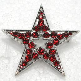 12pcs lot Wholesale Crystal Rhinestone Star Brooches Fashion Pentagram Costume Pin Brooch jewelry gift C779