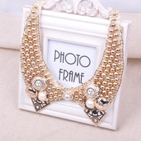 Wholesale Punk exaggerated electroplating pearl buttons women s short necklace mmj037