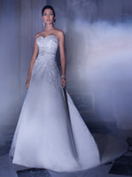 A-Line Model Pictures Sweetheart Demetrios A-line strapless sweetheart with applique sash diamond long cathedral train Wedding Dresses Bridal Gown custom made full size