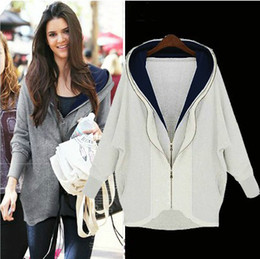 Wholesale Star style female ladies loose big yards thick fleeces double zipper irregular hooded cardigan overcoats white gray t5764