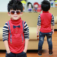 Wholesale Winter Long Sleeve T Shirt Kids Clothes Boys Stripe Casual Shirt With Bowknot Children T Shirts Turtle Neck Shirt Best Shirts Child Clothing