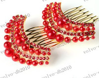 Wholesale LLFA3386 Bridal hairpin red white rhinestone hair ornaments decorations wedding headdress side comb