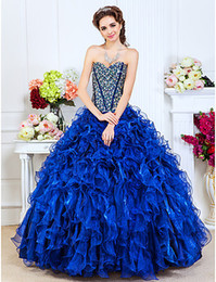 Wholesale New Modern Ball Gown Organza Sequin Beads Crystal Cascading Ruffles Sweetheart Quinceanera Dresses Floor length