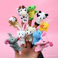 Wholesale Retail Baby Plush Toy Finger Puppets Talking Props animal group T90190