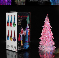 Wholesale Cool Christmas Halloween Tree Ornament Acrylic Crystal Colorful Mini Changing LED night light lamp Decoration Kids Gift with retail box
