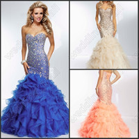 low price dresses - 2014 Low Price New Sexy Shiny Sequins Mermaid Prom Dresses Champel Length Tiers Ruffles Lace UP Evening Dresses