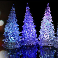 Wholesale Fashion Christmas Halloween Tree Ornament Acrylic Crystal Colorful Mini Changing LED night light lamp Decoration Kids Gift with retail box