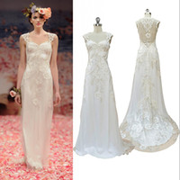 Wholesale Modern Square Sheath Organza Appliques Cap Sleeves Full Length See Through Sheer Straps Bridal Gown Wedding Dress