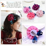 Barrettes Blending Floral Children's Hairpin Jewel Centered Head Flower Baby Girl Lady Jewelry Center Hair Accessories Clips 20 pcs lot 828