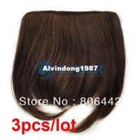 Wholesale NEW Light Brown Lady s Fashion Clip in on Bang Fringe Human Hair Extensions Carnival