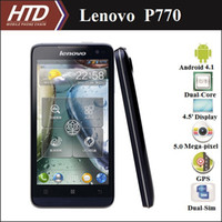 Wholesale 100 Original Lenovo P770 GHz Dual Core Dual SIM Android Multi language Smart Phone With Free Adapter Free Phone Case