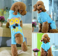 Wholesale 10pcs New Fashion Pet Cartoon Coral Fleece Spectacled Bear legs Warm Coat Pet Dog Autumn Winter Casual Clothes Apparel XS S M L XL