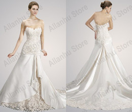 Wholesale 2014 Wedding Dresses New Cheap Sexy A line Sweetheart Floor Length Chapel Train Lace Satin Bead Bridal Gowns MG490