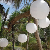 "Ballon and Lantern   White Mixed 8"" 12"" Chinese Paper Lanterns Wedding Birthday Party Floral Home Decoration"