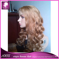 body wave blonde full lace wigs - Best selling ombre brazilian human virgin hair full lace wig