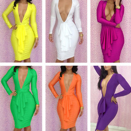 Wholesale New Arrival Hot Sale Bandage Dress Colorful Women Clothing Bodycon Hollow Out Women Dress Club Wear Sexy Dress