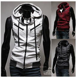 Wholesale New Arrival Fashion Men Vest Hooded Sleeveless Cardigan College Style Inclined Zipper Design Mens Vests Christmas Gift M02