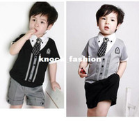 Boy Spring / Autumn O-Neck 2013 New Wholesale Kids Summer Casual Preppy Style Clothing Set Baby Boys T shirt + Shorts 2pieces Clothing Set