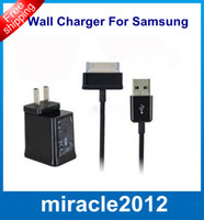 Wholesale AC Home Travel Wall Charger Adapter USB Cable Cord for Samsung Galaxy TAB P5100 P3100 N5100 Tablet PC Set