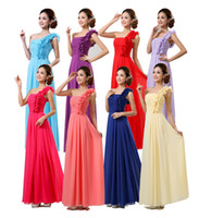 Wholesale 2015 women wedding bridesmaid dress one shoulder chiffon party evening long ruched red blue purple fuchsia dresses