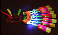 Wholesale 1200pcs LED Amazing flying arrows helicopter umbrella light parachute kids toys DHL L02