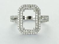 emerald cut diamonds - 14k White Gold Diamond Certificate Emerald Cut mm Solid Gold Real Natural Diamond Wedding Setting Engagement Semi Mount Ring XCXR008